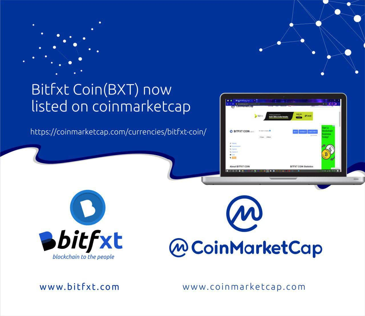 Bitfxt coin listed on coinmarketcap.com